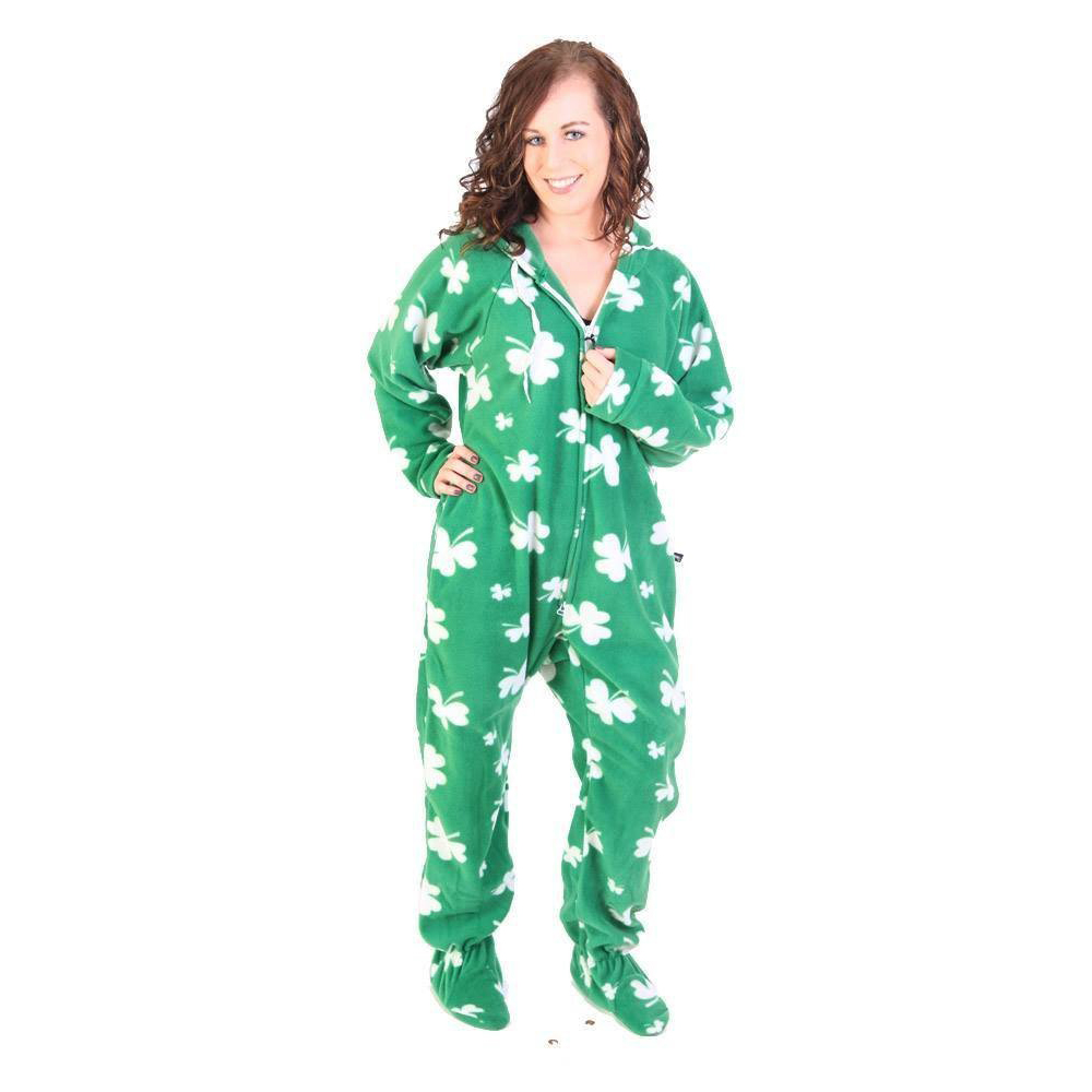 Green Shamrock Print Footed Onesie – Adult – Unisex  77cccd4db