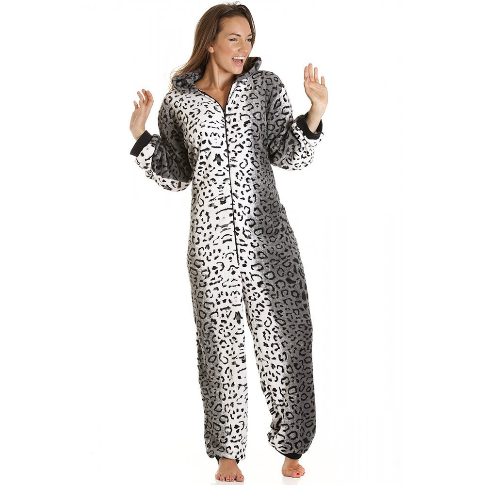 Snow leopard print onesie adult women s i wear onesies for Pyjama femme chaud