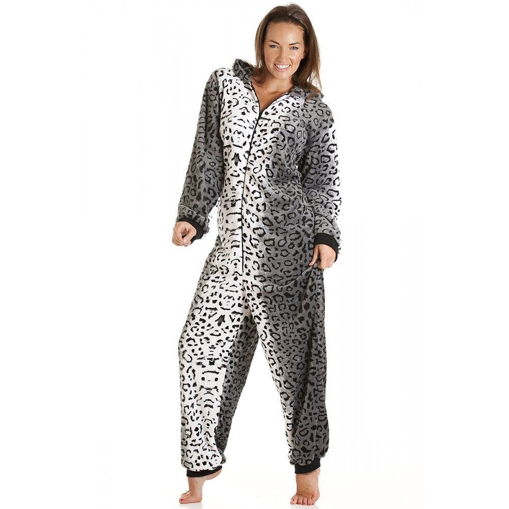 snow leopard print onesie adult women s i wear onesies. Black Bedroom Furniture Sets. Home Design Ideas